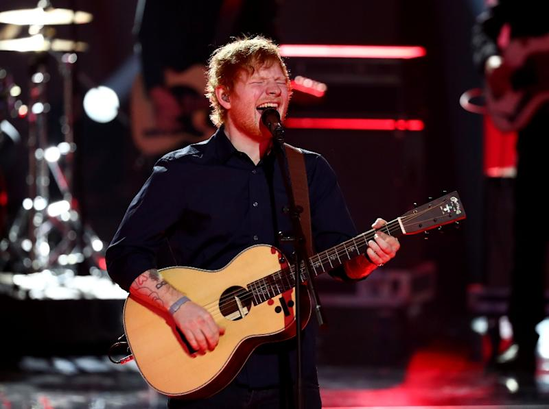 British singer Ed Sheeran performs after receiving the Golden Camera award for Best International musician in Hamburg, northern German on March 4, 2017