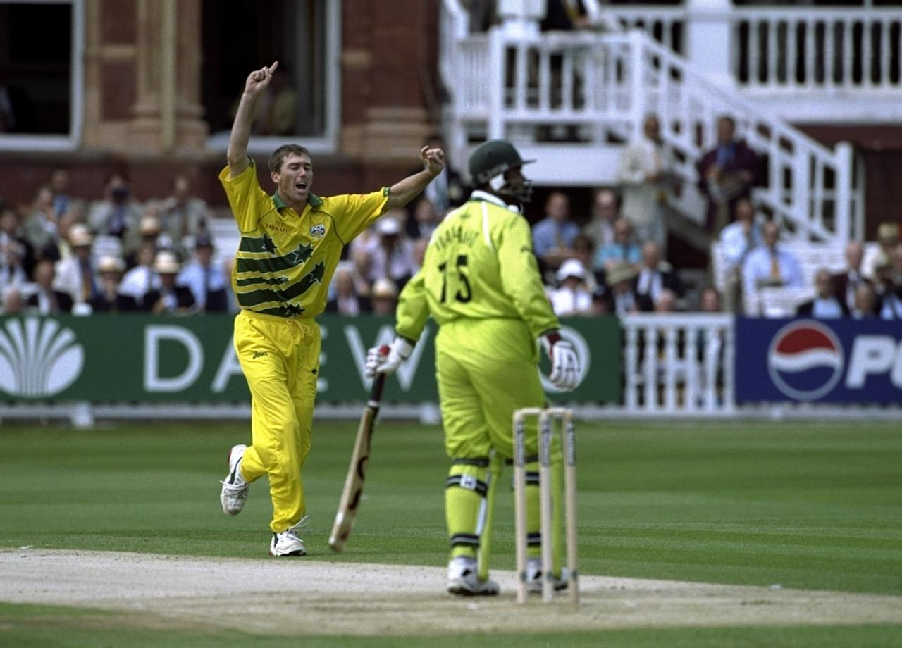 20 Jun 1999:  Glenn McGrath of Australia takes the wicket of Wajahatullah Wasti of Pakistan during the Cricket World Cup Final at Lord's in London. Australia won by 8 wickets. \ Mandatory Credit: Laurence Griffiths /Allsport