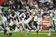 Houston Texans safety Justin Reid (20) celebrates after intercepting a pass against the Jacksonville Jaguars during the first half of an NFL football game Sunday, Sept. 12, 2021, in Houston. (AP Photo/Sam Craft)