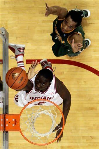 Indiana's Victor Oladipo shoots against North Dakota State's Lawrence Alexander during the first half of an NCAA college basketball game, Monday, Nov. 12, 2012, in Bloomington, Ind. (AP Photo/Darron Cummings)