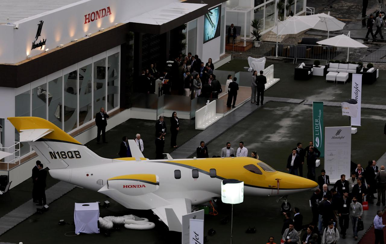 The Honda HA-420 HondaJet is displayed during the Latin American Business Aviation Conference & Exhibition fair (LABACE) at Congonhas airport in Sao Paulo, Brazil August 15, 2017.  REUTERS/Paulo Whitaker