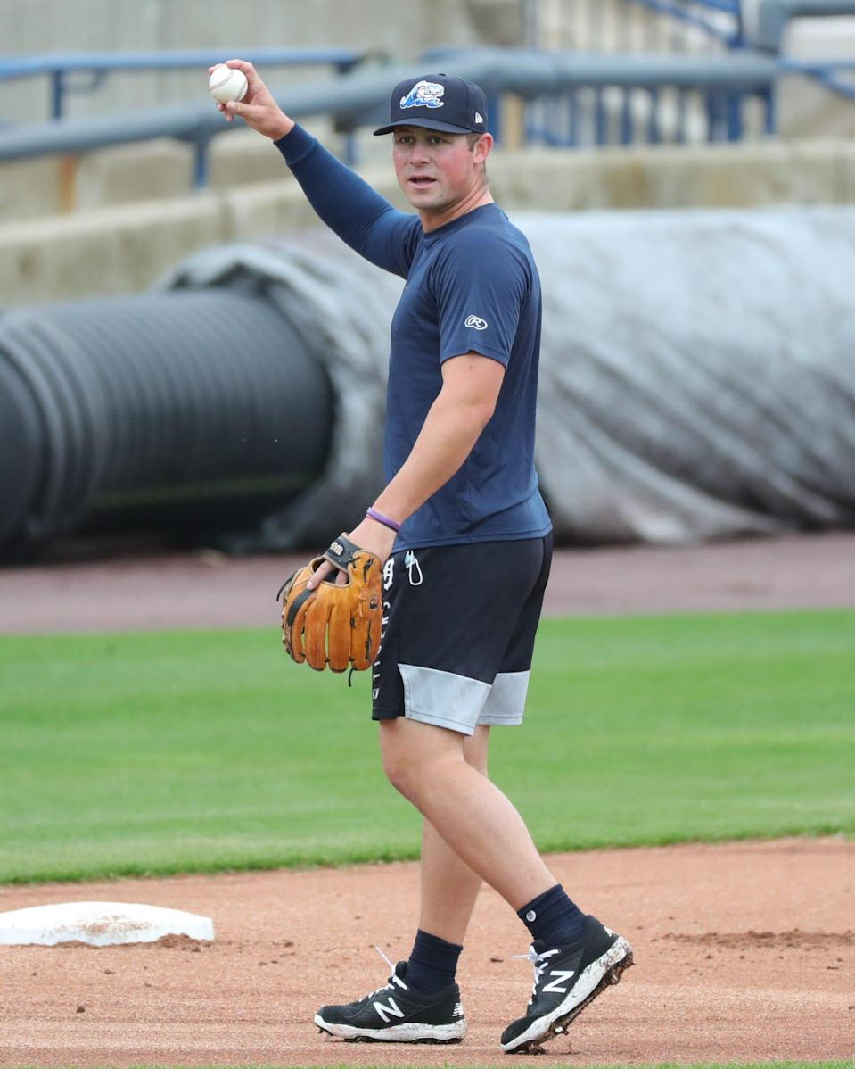 West Michigan Whitecaps infielder Spencer Torkelson fields ground balls during practice Monday, May 3, 2021 at LMCU Ballpark in Comstock Park.