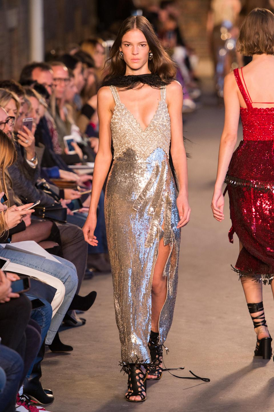<p><i>Silver metallic dress from the SS18 Altuzarra collection. (Photo: ImaxTree) </i></p>