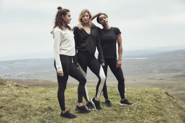 Models wear clothing from H&M Conscious Sport Collection. (Photo courtesy of H&M)
