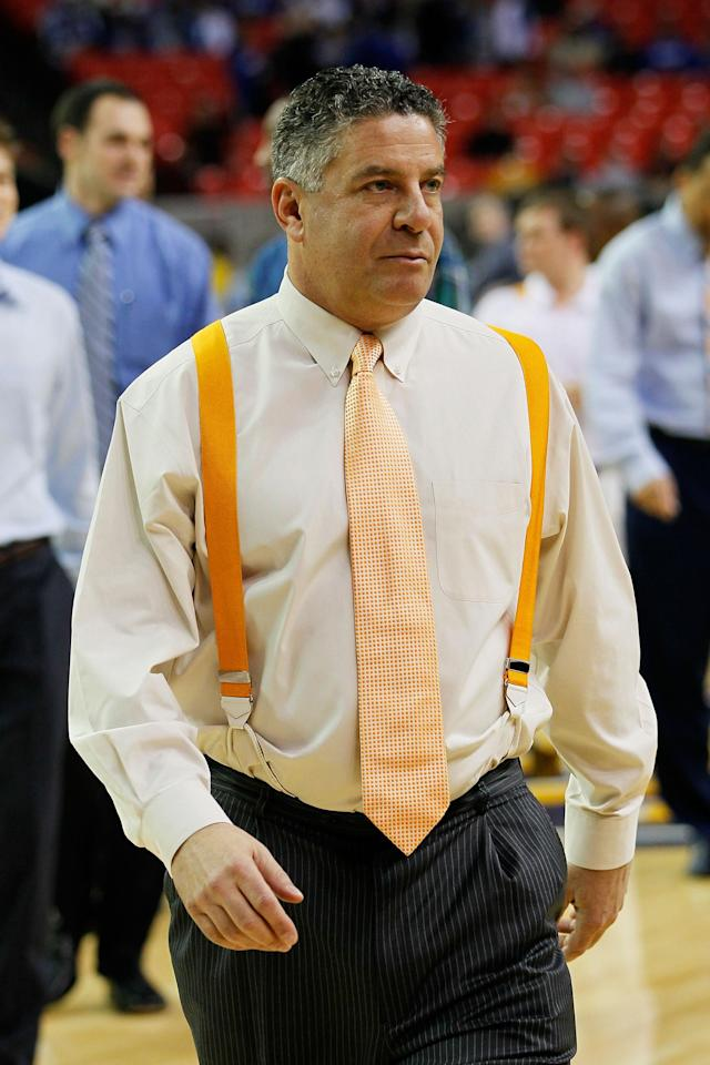 ATLANTA, GA - MARCH 10: Head coach Bruce Pearl of the Tennessee Volunteers looks on against the Arkansas Razorbacks during the first round of the SEC Men's Basketball Tournament at the Georgia Dome on March 10, 2011 in Atlanta, Georgia. (Photo by Kevin C. Cox/Getty Images)