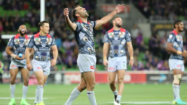 Melbourne Storm are two points clear at the top of the NRL after maintaining their perfect record on a night to remember for their captain.