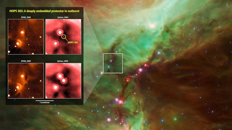 NASA Satellites Capture Newborn Star's Growth Spurt
