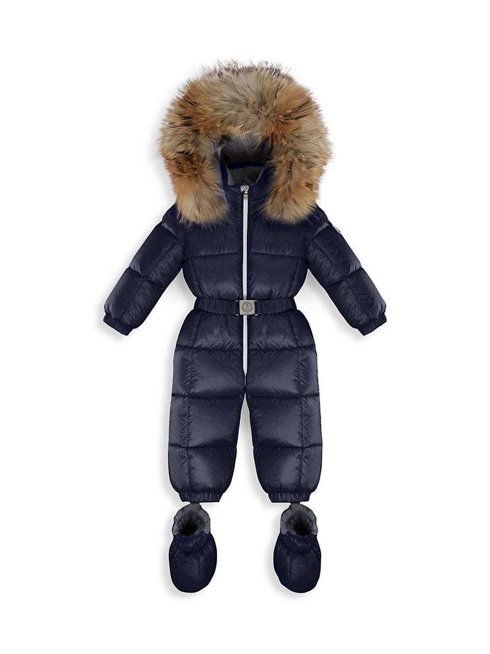 "<p><strong>Moncler</strong></p><p>shop.saksfifthavenue.com</p><p><strong>$770.00</strong></p><p><a href=""https://shop.saksfifthavenue.com/product/moncler-baby-s--amp--little-kid-s-fur-trim-down-paddded-snowsuit-0400012876042.html?site_refer=NPLA_GGL_Shopping"" rel=""nofollow noopener"" target=""_blank"" data-ylk=""slk:Shop Now"" class=""link rapid-noclick-resp"">Shop Now</a></p><p>This Moncler snowsuit is essential for cold weather. The little one will want to play in the snow while staying stylish and most importantly warm. </p>"