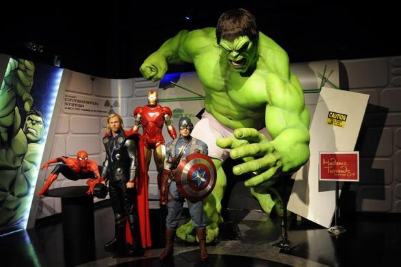 "Wax figures designed to look like characters from the Marvel Entertainment film ""The Avengers"" are on display at the ""Marvel Superhero Experience"" at Madame Tussauds wax museum in New York April 26, 2012."