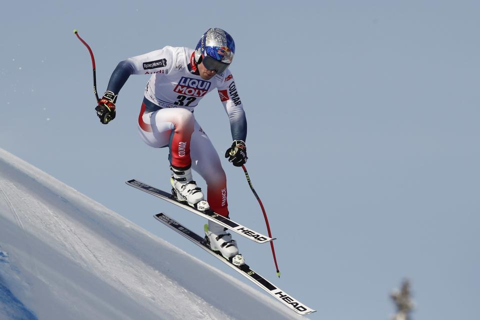 France's Alexis Pinturault speeds down the course during training for an alpine ski, men's World Cup downhill in Kvitfjell, Norway, Friday, March 6, 2020. (AP Photo/Gabriele Facciotti)