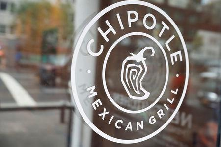 FILE PHOTO: The logo of Chipotle Mexican Grill is seen at the Chipotle Next Kitchen in Manhattan