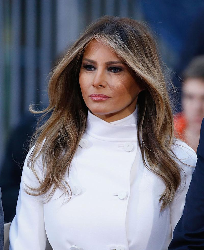 Melania's ever-flawless hair comes courtesy of her trusted hair stylist of a decade, Mordechai Alvow. (Photo: Getty)