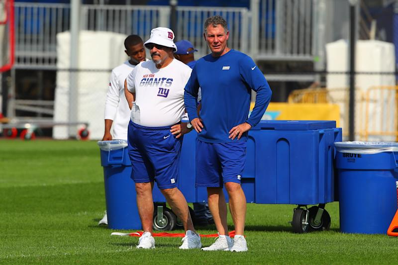 EAST RUTHERFORD, NJ - JULY 26: New York Giants general manager Dave Gettleman talks with New York Giants head coach Pat Shurmur during training camp on July 26 2019 at Quest Diagnostics Training Center in East Rutherford, NJ. (Photo by Rich Graessle/Icon Sportswire via Getty Images)