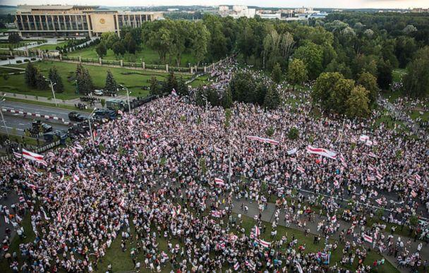 PHOTO: Opposition supporters rally to protest against disputed presidential elections results in Minsk, Belarus, Aug. 30, 2020. (AFP via Getty Images)