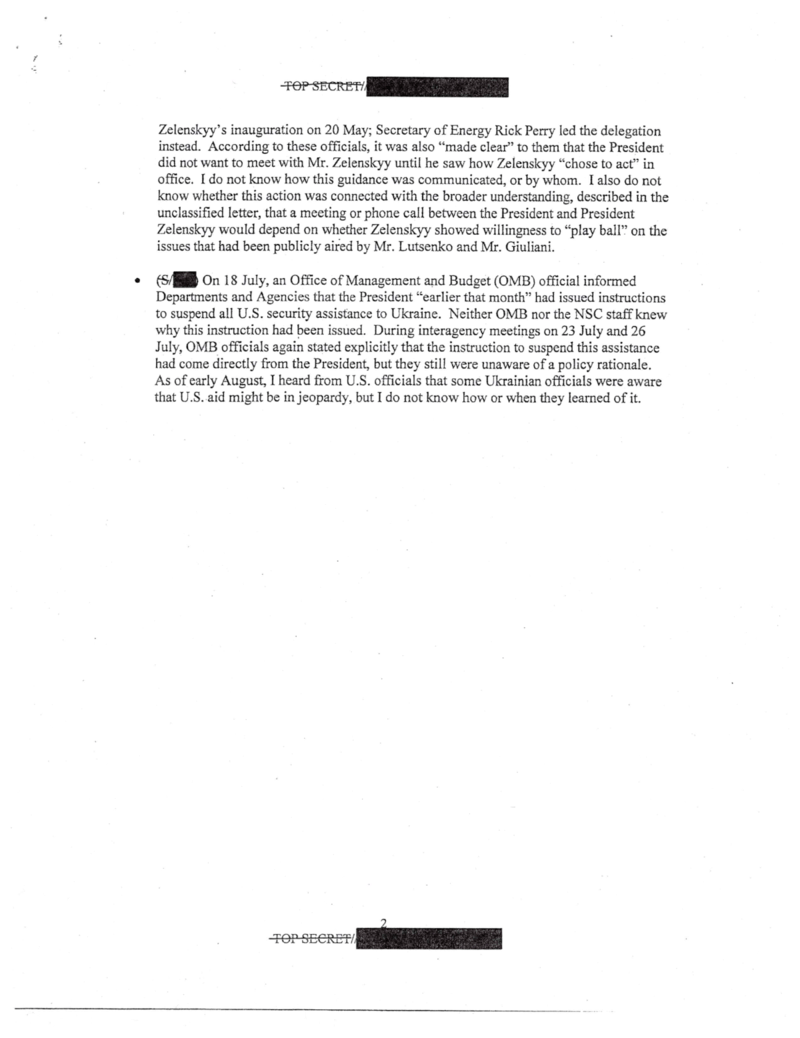 The text of page 9 of the whistleblower complaint lodged against President Donald Trump