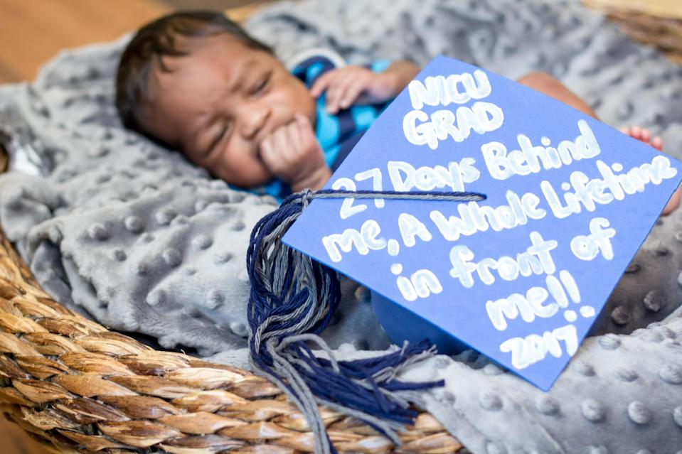 "<p>""NICU GRAD, 27 Days Behind Me, A Whole Lifetime In Front Of Me!! 2017""<em> (Photo via: <a rel=""nofollow noopener"" href=""https://www.bellababyphotography.com/"" target=""_blank"" data-ylk=""slk:Bella Baby Photography"" class=""link rapid-noclick-resp"">Bella Baby Photography</a>)</em> </p>"