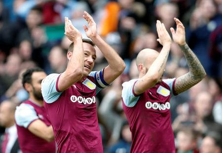 Soccer Football - Championship - Aston Villa vs Birmingham City - VIlla Park, Birmingham, Britain - February 11, 2018 Aston Villa's John Terry applauds the fans after the match Action Images/Matthew Childs