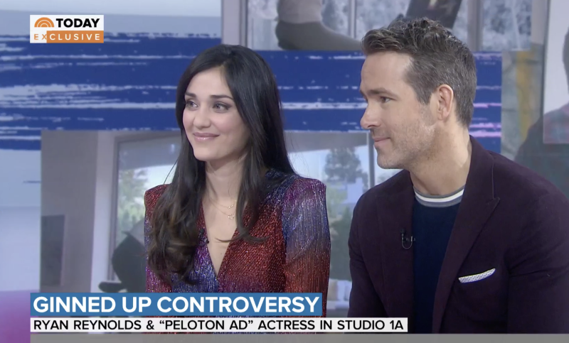 Peloton ad star Monica Ruiz mets Ryan Reynolds on Thursday's Today show - days after spoofing the viral ad for his gin brand. (Screenshot: Today show)