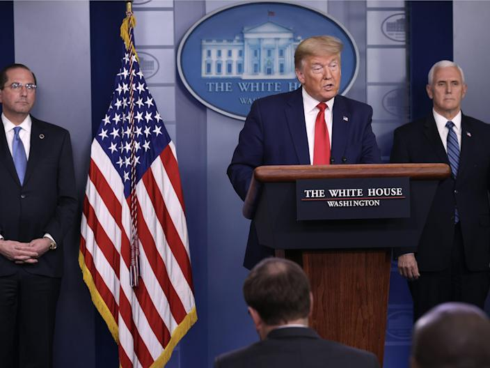 President Donald Trump speaks in the press briefing room with members of the White House Coronavirus Task Force April 3, 2020 in Washington, DC.