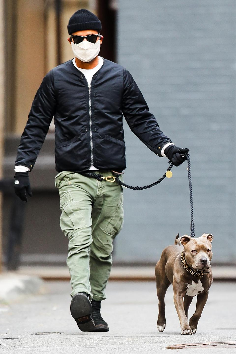 <p>Justin Theroux wore a face mask when he took his dog Kuma for a walk in New York City.</p>
