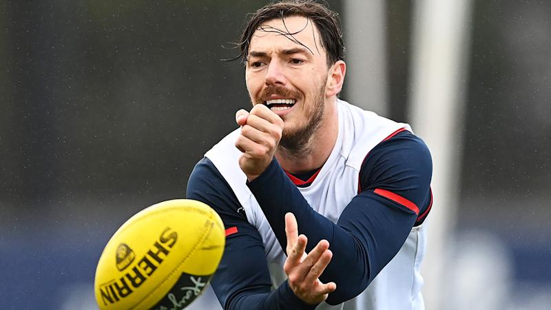 Melbourne defender Michael Hibberd is pictured handballing during an AFL training session.
