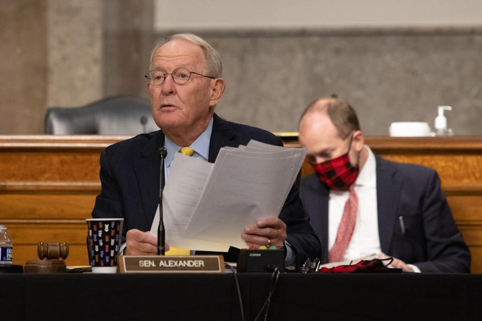 Senate Health, Education, and Labor and Pensions Committee Chairman Senator Lamar Alexander speaks during at a Senate Health, Education, and Labor and Pensions Committee on Capitol Hill,  on September 23, 2020 in Washington, DC. (Graeme Jennings- Pool/Getty Images)