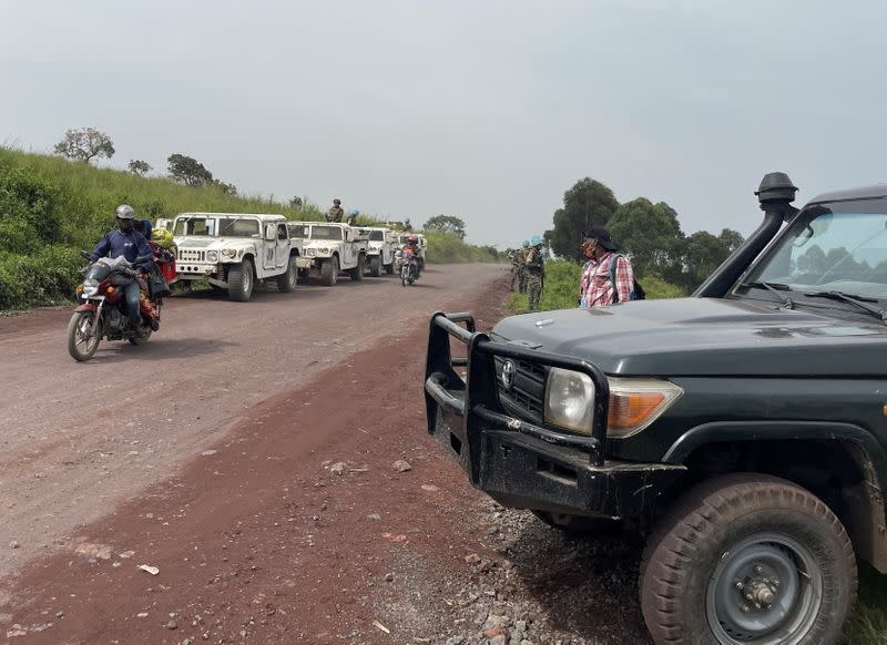 Peacekeepers serving in MONUSCO secure the scene where the Italian ambassador to Democratic Republic of Congo Luca Attanasio was killed in Ruhimba village