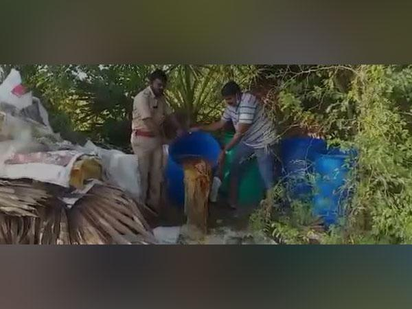 SEB destroyed 3,500 litres of jaggery wash in Nellore district of Andhra Pradesh. (Photo/ANI)