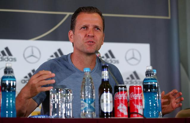 Soccer Football - World Cup - Germany Press Conference - Sochi, Russia - June 20, 2018 Germany team manager Oliver Bierhoff during the press conference REUTERS/Hannah McKay