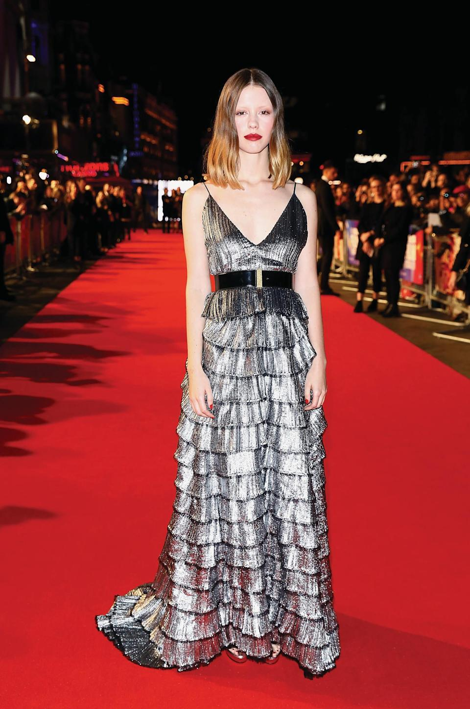 <p>The English star, 24, opted for a layered Givenchy dress for the red carpet event. <em>[Photo: Getty Images for BFI]</em> </p>