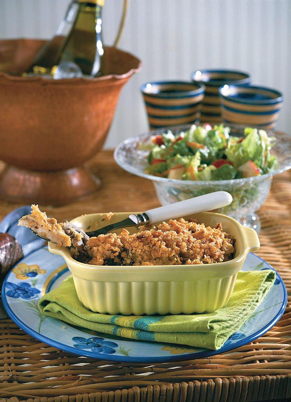 """<p><strong>Recipe: <a href=""""https://www.southernliving.com/syndication/chicken-casserole-diberville"""" rel=""""nofollow noopener"""" target=""""_blank"""" data-ylk=""""slk:Chicken Casserole D'Iberville"""" class=""""link rapid-noclick-resp"""">Chicken Casserole D'Iberville</a></strong></p> <p>You can use rotisserie chicken to shorten the prep time before popping this casserole in the oven. </p>"""