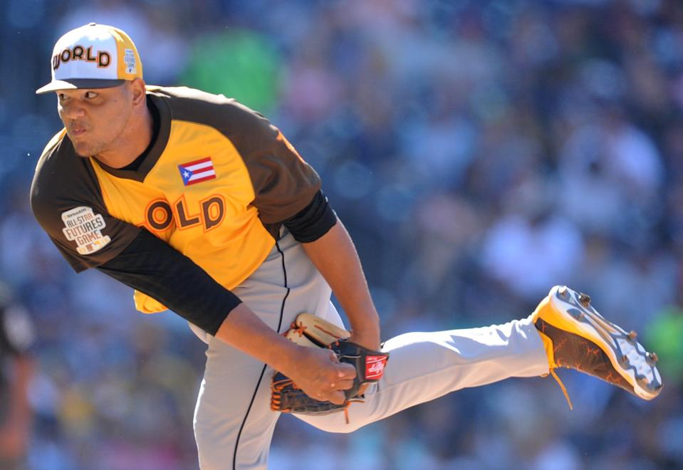 Jul 10, 2016; San Diego, CA, USA; World pitcher and Tigers prospect Joe Jimenez throws a pitch in the second inning during the All-Star Futures Game at PetCo Park.