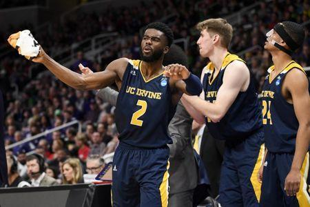 Mar 22, 2019; San Jose, CA, USA; UC Irvine Anteaters guard Max Hazzard (2) reacts during the second half in the first round of the 2019 NCAA Tournament against the Kansas State Wildcats at SAP Center. Mandatory Credit: Kelley L Cox-USA TODAY Sports