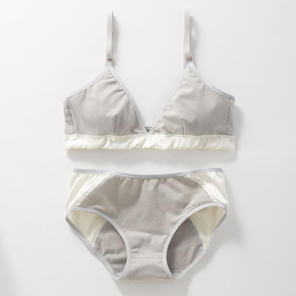 """<a href=""""https://www.brookthere.com/"""" target=""""_blank"""" rel=""""noopener noreferrer"""">Brook There</a> makes organic, minimalist bras and underwear that are cut and sewn in the United States. The brand uses both cotton and silk for its designs, which include bralettes and vintage-inspired underwear.<br /><br />Fog Alchemy bra available in sizes 32AB to 36CD; briefs available in sizes XS to XL.<br /><br /><strong><a href=""""https://www.brookthere.com/organic-lingerie/fog-alchemy-lingerie-set"""" target=""""_blank"""" rel=""""noopener noreferrer"""">Get the Brook There Fog Alchemy set for $152.</a></strong>"""
