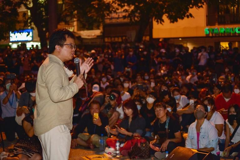 Activist Anon Numpa spoke at a rally in northern Thailand soon after being released on bail