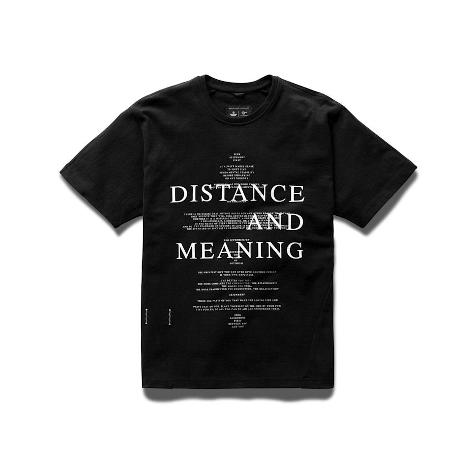 """<p><strong>Reigning Champ x Jide Osifeso</strong></p><p>reigningchamp.com</p><p><strong>$120.00</strong></p><p><a href=""""https://shop.reigningchamp.com/collections/jide-osifeso/products/jide-heavyweight-jersey-distance-t-shirt-black"""" rel=""""nofollow noopener"""" target=""""_blank"""" data-ylk=""""slk:Shop Now"""" class=""""link rapid-noclick-resp"""">Shop Now</a></p><p>Guaranteed to make you look 176 percent more contemplative than you normally do.</p>"""