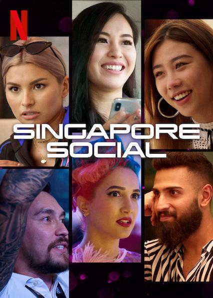 """The cast in the poster for Netflix's reality TV series """"Singapore Social"""". Clockwise from top left: Tabitha Nauser, Nicole Ong, Mae Tan, Vinny Sharp, Sukki Singapora, and Paul Foster."""