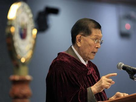 Senator Ponce Enrile explains his vote at the conclusion of Supreme Court Chief Justice Corona's impeachment trial in Manila