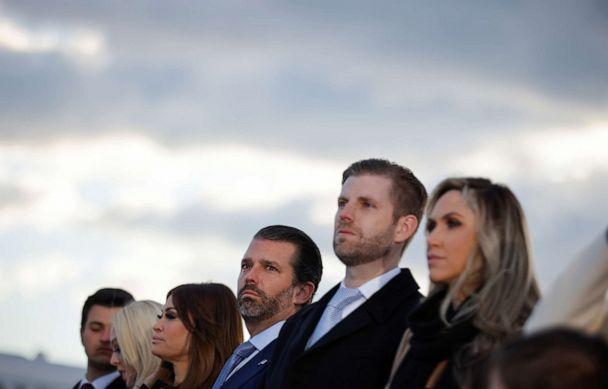 PHOTO: Donald Trump Jr. attends the departure ceremony of President Donald Trump at the Joint Base Andrews, Md., Jan. 20, 2021. (Carlos Barria/Reuters)