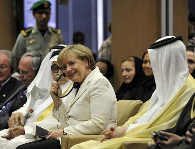 German Chancellor Angela Merkel during a visit to the Saudi Arabian Chamber of Commerce. (Photo: Getty Images)