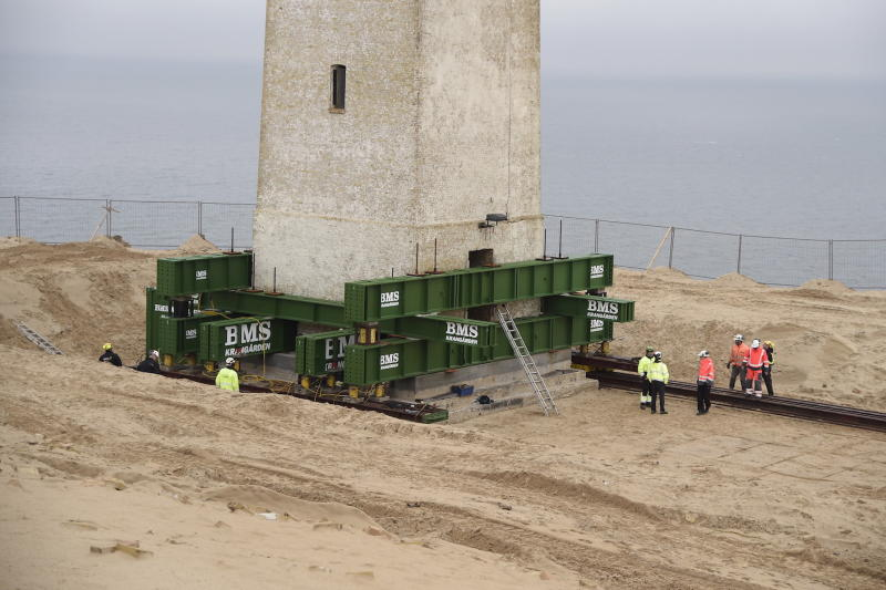The lighthouse has been placed on wheels and a rail (Picture: AFP/Getty)