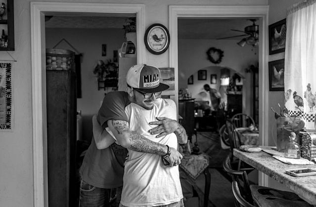 <p>Larry Fugate is a recovering heroin addict at home in Middletown, Ohio. Five months ago, his mom Terri Fugate resuccitated him after a heroin overdose. (Photograph by Mary F. Calvert for Yahoo News) </p>
