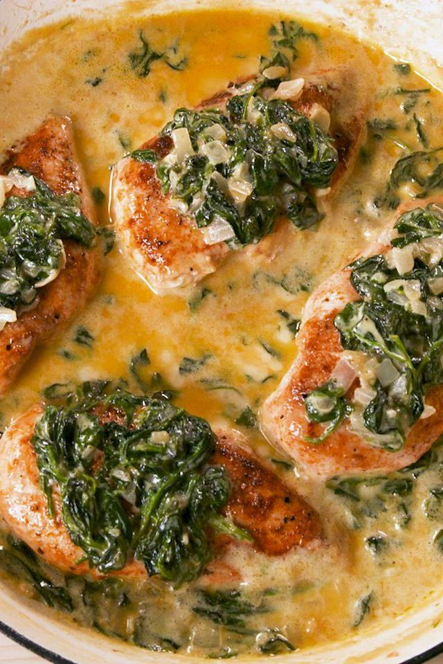 """<p>You'll be eating straight out of the pan.</p><p>Get the recipe from <a href=""""https://www.delish.com/cooking/recipe-ideas/a19867516/creamed-spinach-chicken-recipe/"""" rel=""""nofollow noopener"""" target=""""_blank"""" data-ylk=""""slk:Delish"""" class=""""link rapid-noclick-resp"""">Delish</a>.</p><p><a href=""""https://www.amazon.com/Artisan-Enameled-8-Inch-Skillet-Sapphire/dp/B072QGDB27"""" rel=""""nofollow noopener"""" target=""""_blank"""" data-ylk=""""slk:BUY NOW"""" class=""""link rapid-noclick-resp"""">BUY NOW</a> <strong><em>Enamled Cast Iron Skillet, $23, amazon.com</em></strong></p>"""