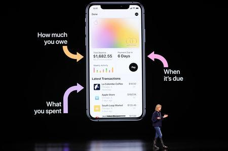 Jennifer Bailey VP Apple Pay at Apple, speaks during an Apple special event at the Steve Jobs Theater in Cupertino, California, U.S., March 25, 2019. REUTERS/Stephen Lam