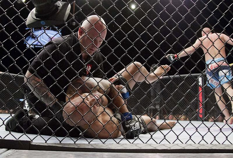 Lavar Johnson grabs his arm after tapping out on an arm bar as Stefan Struve, right, celebrates his first-round win during a UFC 146 heavyweight bout, Saturday, May 26, 2012, in Las Vegas. (AP Photo/Julie Jacobson)