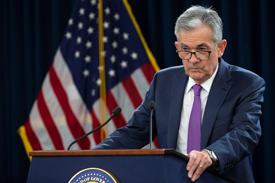U.S. Federal Reserve Chairman Jerome Powell holds a news conference