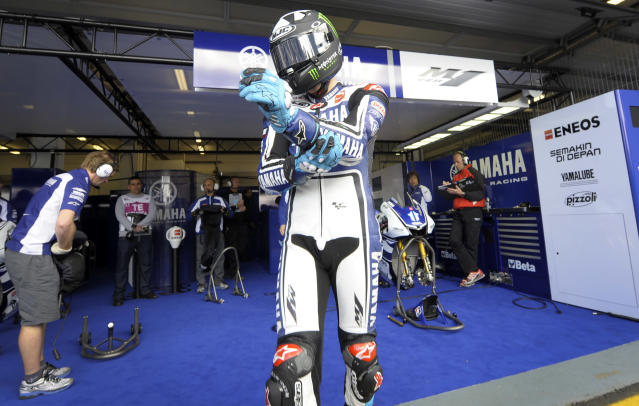Yamaha Factory Racing team's rider Ben Spies leaves the pit to start the Moto GP free practice 3 of the Portuguese Grand Prix in Estoril, outskirts of Lisbon, on May 5, 2012. AFP PHOTO / MIGUEL RIOPAMIGUEL RIOPA/AFP/GettyImages