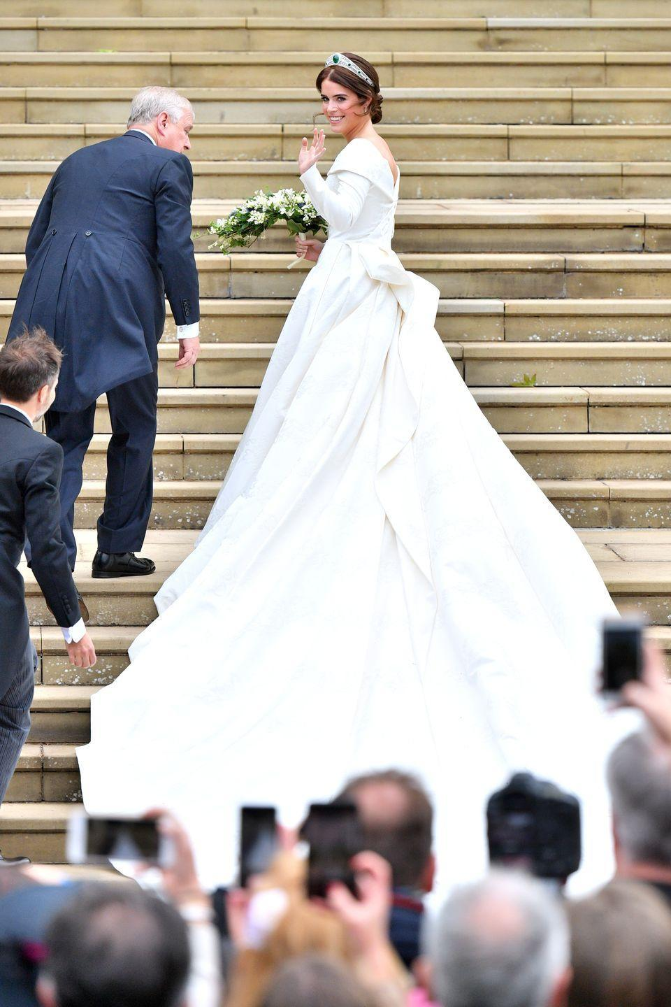 <p>Princess Eugenie wore a gown created custom for her by Peter Pilotto and Christopher de Vos for her wedding to Jack Brooksbank. She specifically requested an open back and chose to forgo a veil to show off her scar from her scoliosis surgery.</p>