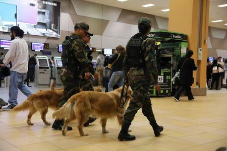 Police patrol with dogs near the LATAM airlines gates in Jorge Chavez airport in Callao, Peru, August 16, 2018. REUTERS/Mariana Bazo
