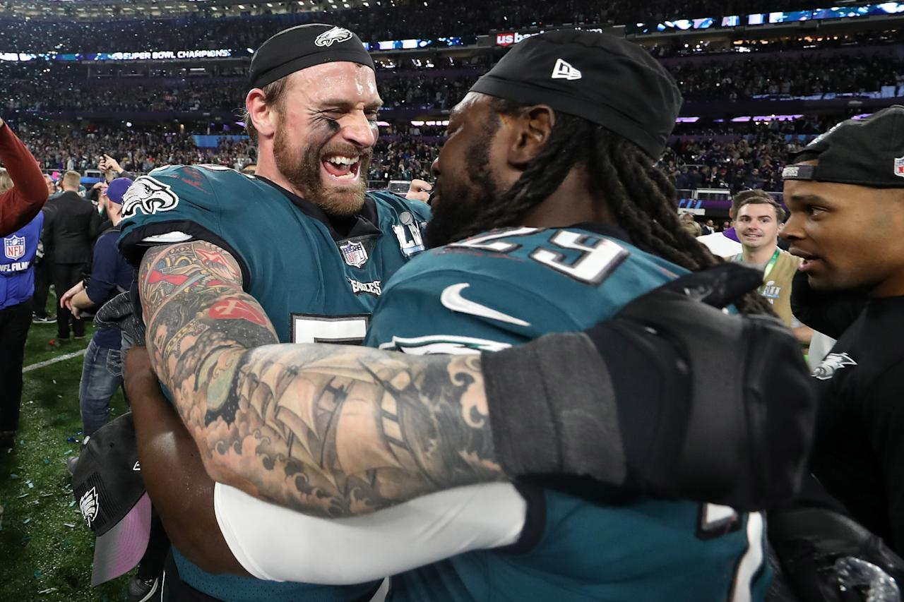 <p>Chris Long #56 and LeGarrette Blount #29 of the Philadelphia Eagles celebrate their teams 41-33 victory over the New England Patriots in Super Bowl LII at U.S. Bank Stadium on February 4, 2018 in Minneapolis, Minnesota. The Philadelphia Eagles defeated the New England Patriots 41-33. (Photo by Rob Carr/Getty Images) </p>